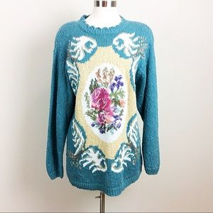 Vintage Casual Corner Green Sweater with Roses